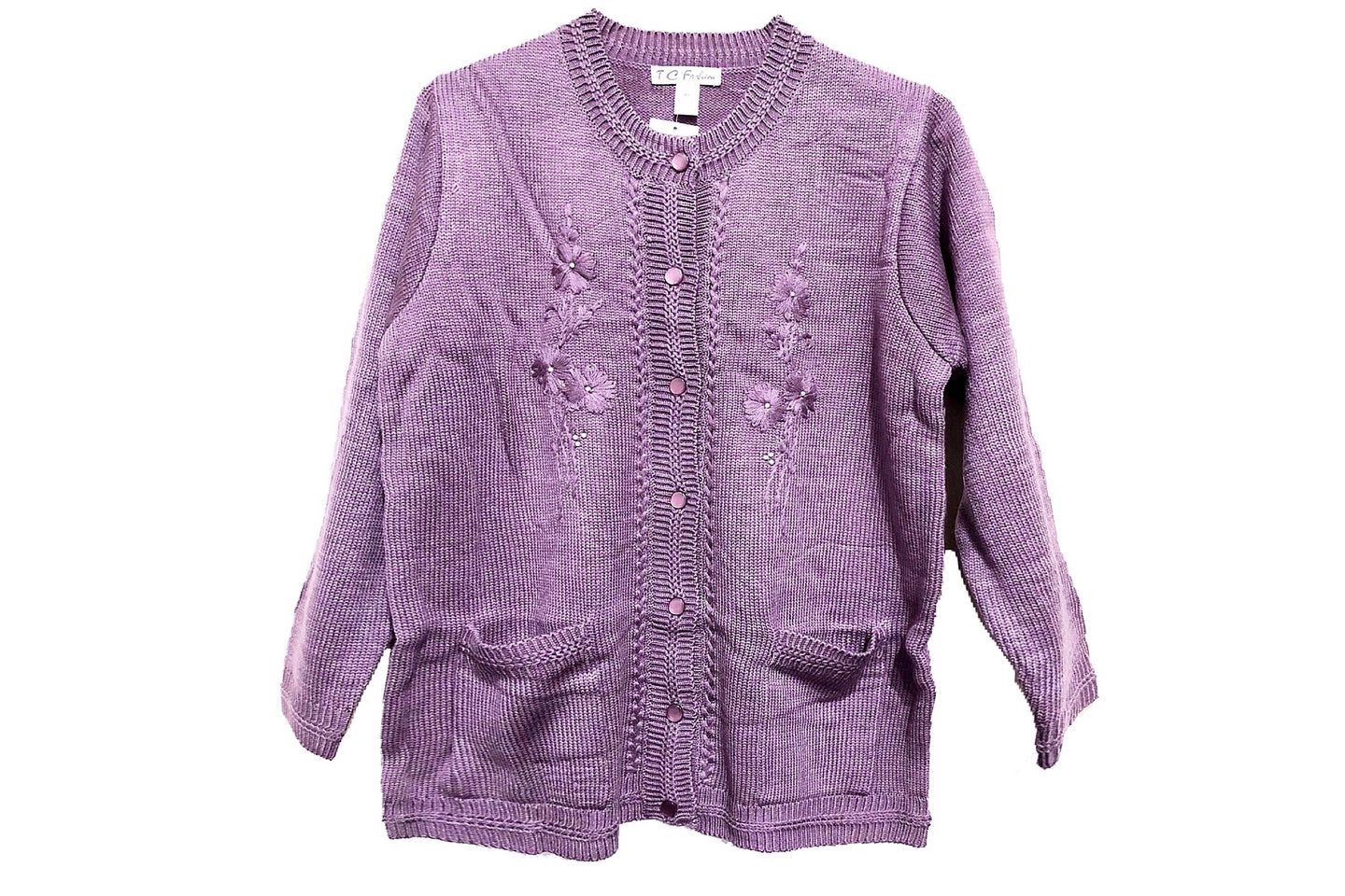 Chunky Cable Knit Sweater Cardigan (Lavender)