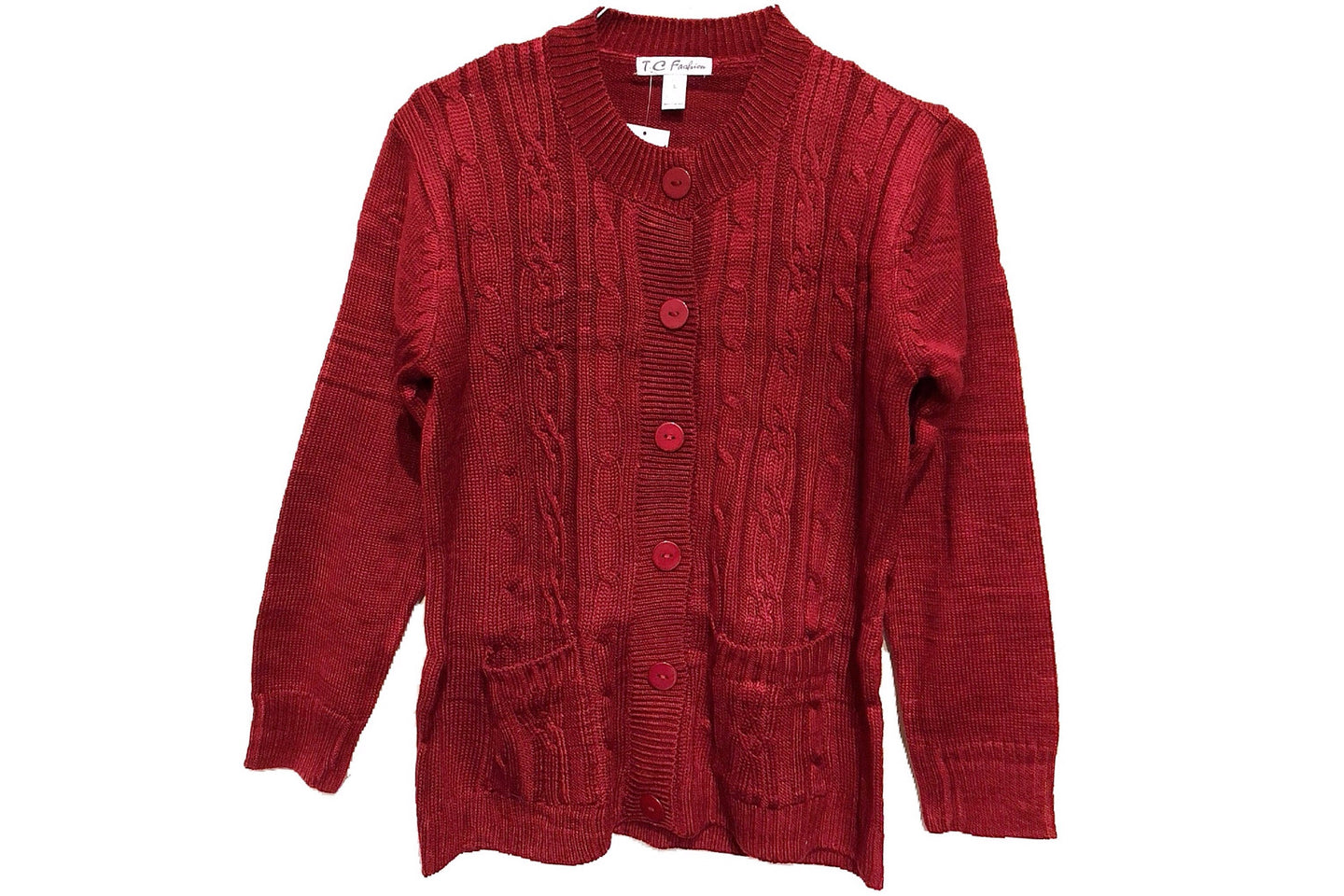 Chunky Cable Knit Sweater Cardigan (Wine Red)