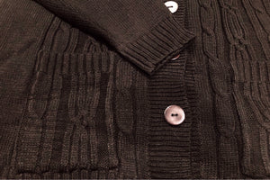 Chunky Cable Knit Sweater Cardigan (Black I)