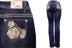 Mid-Rise Straight Denim Push-Up Jeans