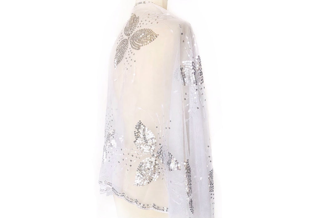 Sequin Flowy Sheer Scarf (White and Silver)