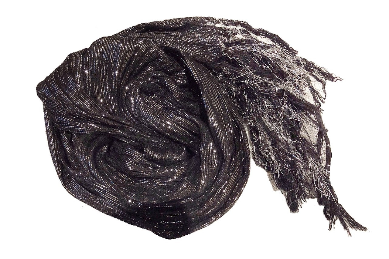 Sequin Flowy Fringed Scarf