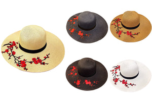 Red Blossoms Floppy Floppy Hat