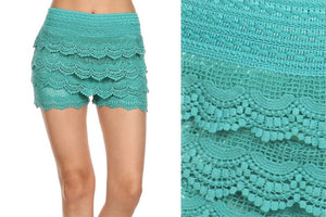 Women's Tiered Layer Crochet Lace Shorts