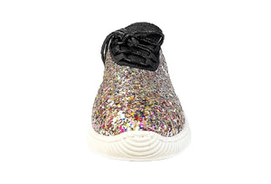 Metallic Glitter Platform Flat Sneakers (Multicolors)