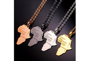Africa Map Pendant Necklace (4 Colors)