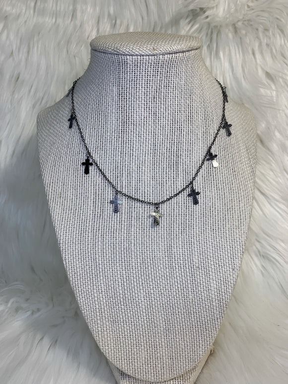 Gunmetal Dangle Cross Choker