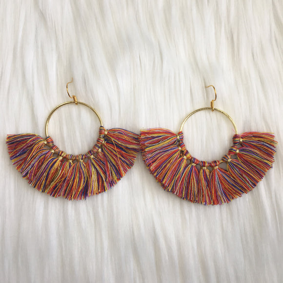 Fan Hoop Tassel Earring
