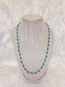 Blue Layering Rosary Necklace