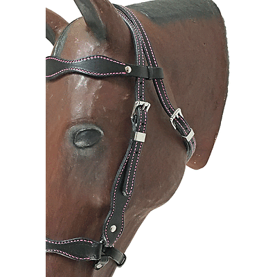Paso Fino Show Headstall Double stitched w/ Hot Pink Thread and S.S. Hardware