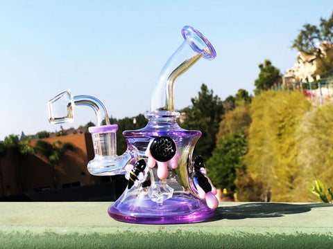 Purple Dab Rig with Bees