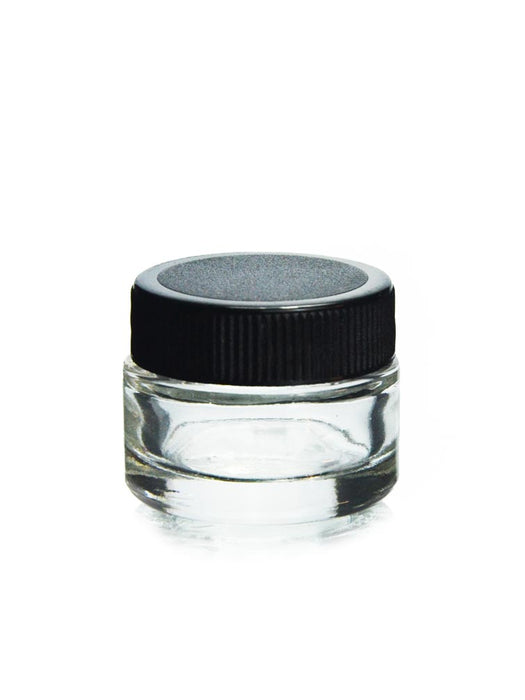 1 Gram Glass Container with Black Lid