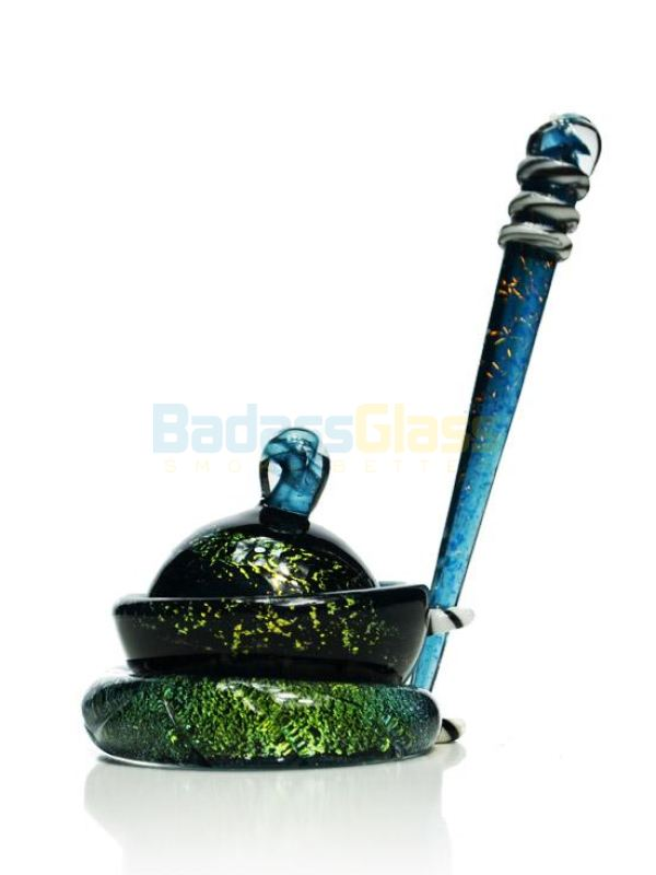 Green and Blue Shimmer Dish and Dabber set by Empire
