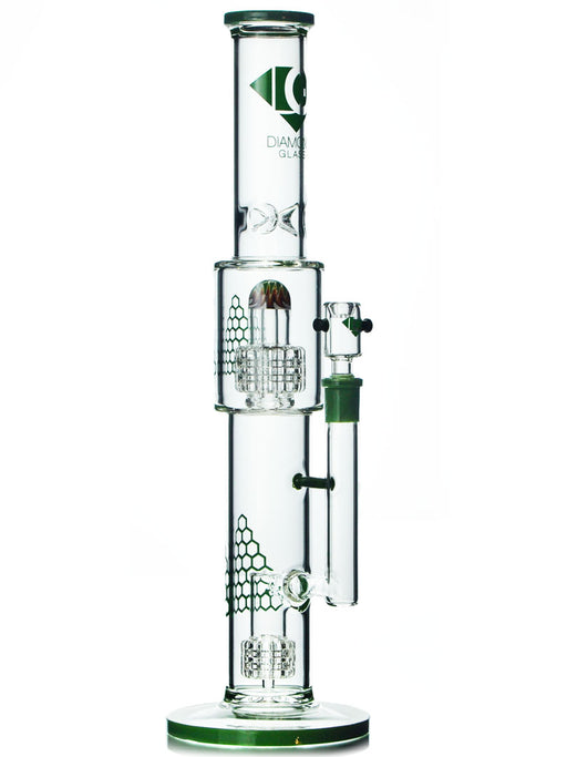 Double Matrix Water Pipe By Diamond Glass