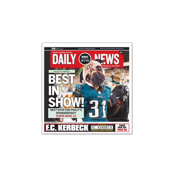 """Best in Show"" Philadelphia Eagles Underdog Story Daily News Reprint, Unframed Print"