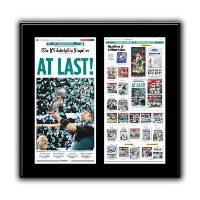 """Headlines of a Historic Run"" Double Plaque Philadelphia Eagles Super Bowl Reprint"