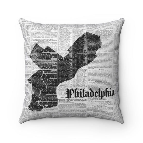 Philadelphia Map Pillow Front Design