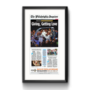 2015 Pope Visit Commemorative Page - Giving, Getting Love Framed Print with Mat