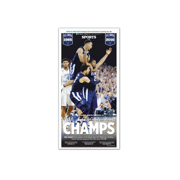 """'Nova Champs"" Villanova Basketball 2016 NCAA Champions, Unframed with Mat Inquirer Reprint"