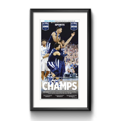 2016 Villanova NCAA Champs Commemorative Page - Inquirer Sports Front - Framed with Mat