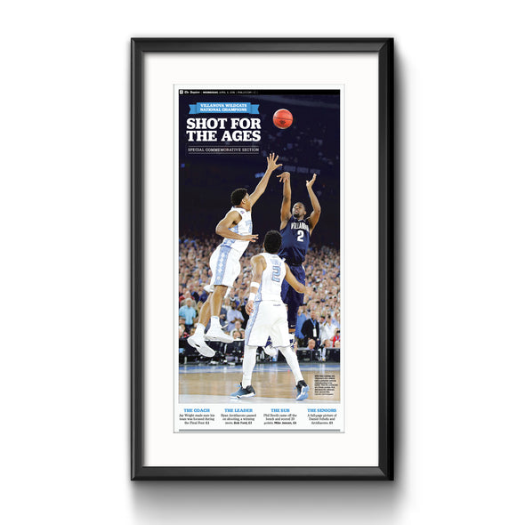 "2016 Villanova NCAA Champs Commemorative Page - ""Shot for the Ages"", Framed with Mat"