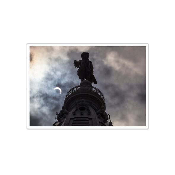 2017 Solar Eclipse Picture Unframed Print, Philadelphia City Hall William Penn by Michael Bryant