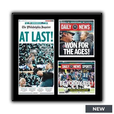 """At Last!"", ""Won for the Ages"", and ""Be-Yoody-Ful"" Inquirer Daily News Philadelphia Eagles Super Bowl Triple Plaque"