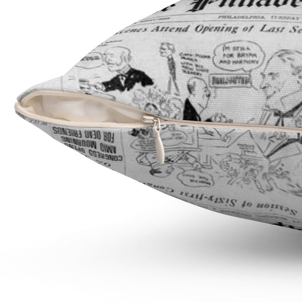 Philadelphia Inquirer Newspaper Pillow Close-Up