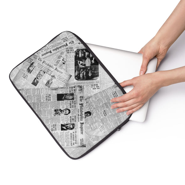 Archival Inquirer Laptop Sleeve with Person pulling laptop out