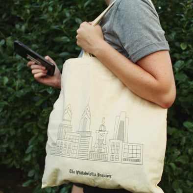 Philly Skyline Canvas Tote Lifestyle Photo