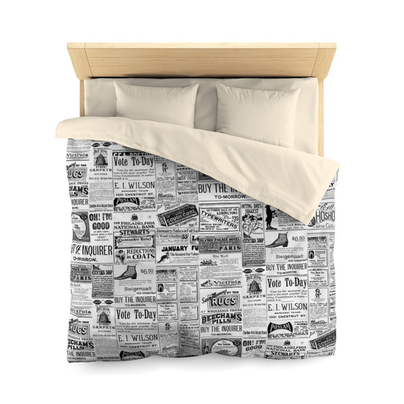 Vintage Inquirer Ad Collage Duvet Cover on Bed