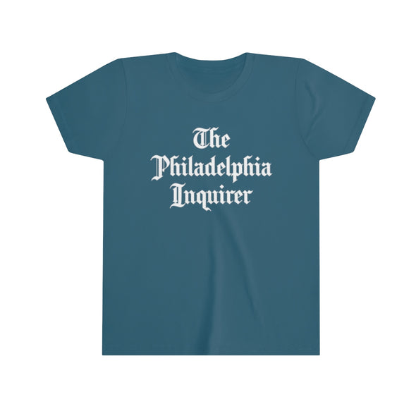 stacked inquirer logo kids youth t-shirt blue