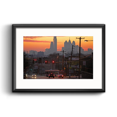 Philadelphia Skyline at Sunset Framed Print with Mat