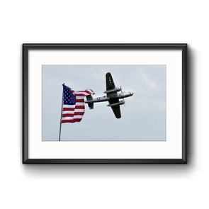 "American Air Show, Larry Kelley 1944 B-25J Bomber, ""the Panchito"" Framed Print with Mat, by Tom Gralish"