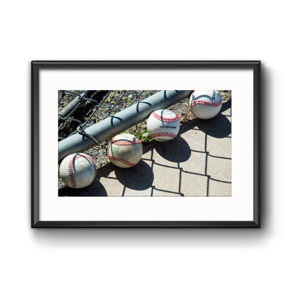 Baseballs in Dugout, Framed Print with Mat by Tom Gralish