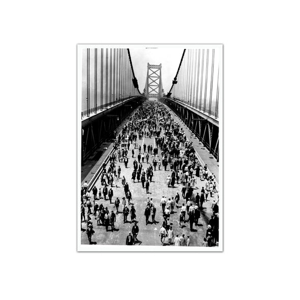 Ben Franklin Bridge on Opening Day, Unframed Print