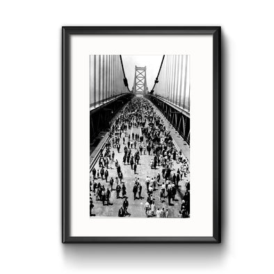 Ben Franklin Bridge Opening Day Framed Print with Mat