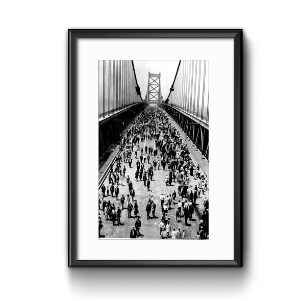 Ben Franklin Bridge on Opening Day, Framed Print with Mat