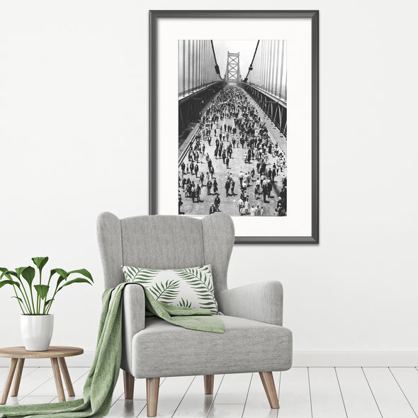Philadelphia Ben Franklin Bridge on Opening Day, Framed Print with Mat Hanging on Living Room Wall
