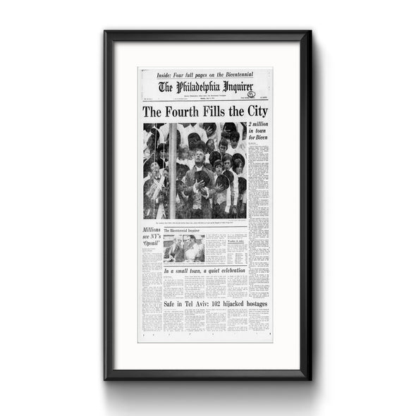 """The Bicentennial Inquirer"", Framed Inquirer Reprint with Mat"