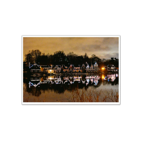 Boathouse Row at Night, Unframed Print by April Saul