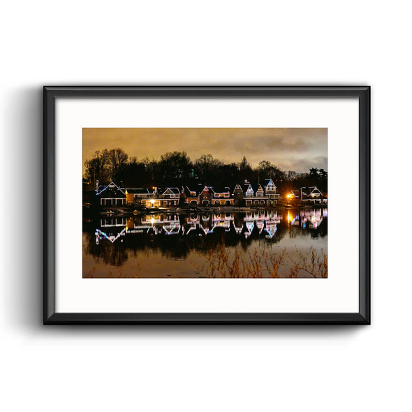 Boathouse Row at Night, Framed Print with Mat by April Saul