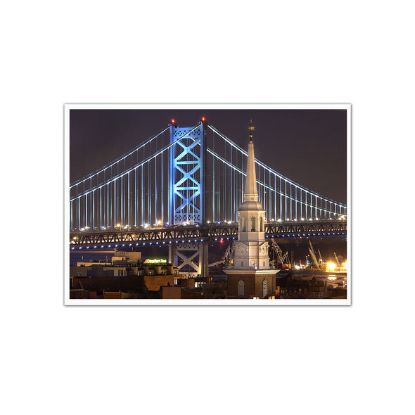 Christ Church Spire and Ben Franklin Bridge Unframed Print