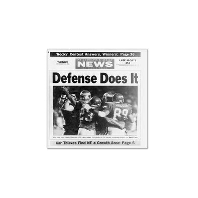 Daily News Sports Commemorative Page - Defense Does It Unframed Print