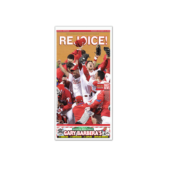 "Daily News Sports Commemorative Keepsake Page - ""Rejoice!"" Philadelphia Phillies Unframed Print"