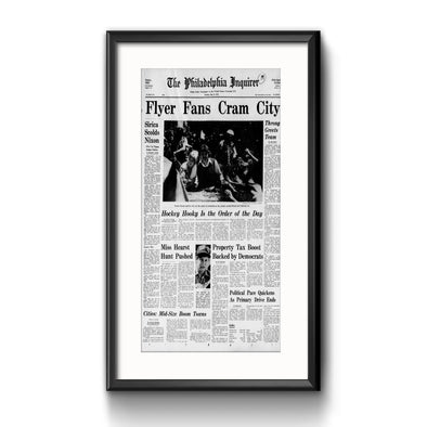 Inquirer Sports Commemorative Page - Fans Cram City Framed with Mat