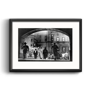 City Hall Courtyard, 1952 Framed Print with Mat
