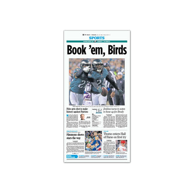 """Book 'em Birds"" Eagles Commemorative Reprint Unframed, Inquirer"