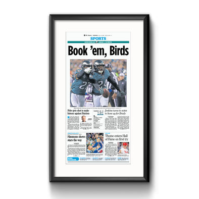 """Book 'em Birds"" Eagles Commemorative Reprint Framed with Mat, Inquirer"