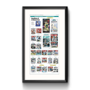 Headlines of a Historic Run Framed Print with Mat
